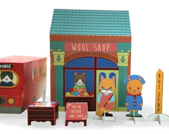 Paper toy - wool shop play set - printable - little cats, waiting by the wool shop, Cheshire bus stop