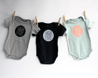 High Five! - Organic Cotton - baby bodysuit - screenprint