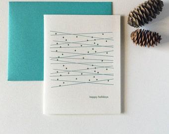 Letterpress Simple Letterpress Christmas Holiday Cards - Twinkle Twinkle - Set of 12 Blank Inside