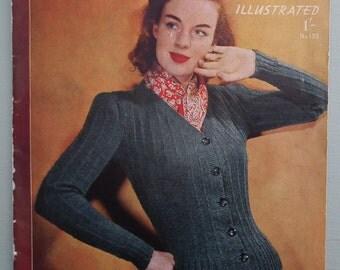 Vintage 1940s Needlecraft Magazine Sewing Knitting Crochet - Needlework Illustrated No. 193 - 40s knitting patterns - slipper patterns