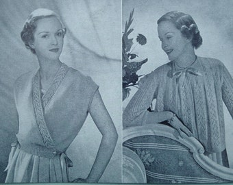 Vintage 1940s 1950s Knitting Pattern Womens Bedjackets and Bed Socks Crossover Top 40s 50s orignal pattern