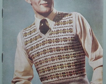 Vintage 1940s Knitting Pattern Mens Sleeveless Pullover Vest - 40s Fair Isle pattern - original color pattern - Sirdar No. 1164 UK - wartime