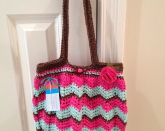 Beautiful Chevron Purse Crocheted in Cotton Yarns of Soft Aqua, Chocolate Brown and Hot Pink with a Removeable Felted Pink Flower Clip