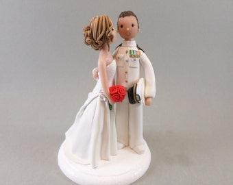 Custom Handmade Bride & Groom Military Wedding Cake Topper