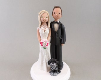 Bride and Groom With a Dog Customized Wedding Cake Topper