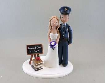 Cake Topper Personalized Police Officer & Teacher Wedding
