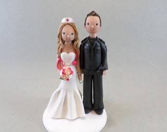 Personalized Wedding Cake Topper Police Officer & Nurse