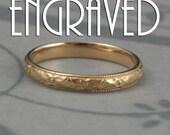 Customized Gold Wedding Band--14K Gold Renaissance Wedding Band--Vintage Style Pattern with Milgrain Edge-Custom Inside Engraving