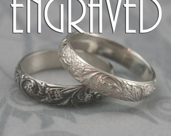 Bridal Bouquet Sterling Silver Wedding Band- Custom Inside Engraving-Floral and Flourish Patterned Silver Ring--Custom made in YOUR size