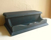 SALE Farmhouse Style Distressed Black Painted Wood Jewelry Box with Hinged Lid