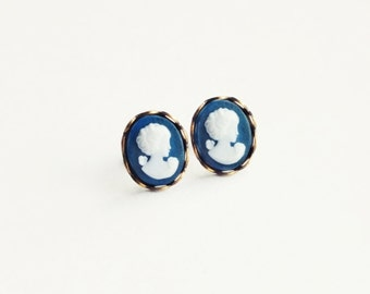 Small Cameo Studs Vintage Frosted Navy Blue Portrait Studs Hypoallergenic Victorian Jewelry Blue Cameo Jewellery