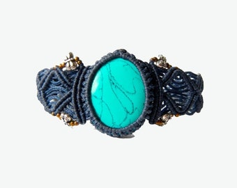 Turquoise Macrame Bracelet - Your stone for Purification- ethereal healing crystal band
