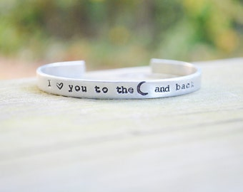 I Love You To The Moon And Back Bracelet . Gifts Under 25 . Gifts for Moms . Sisters . Mother's Day Gift . Moon Bracelet .