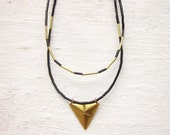 Layered necklaces, black & gold necklace, minimal necklaces, geometric necklaces, raw brass triangle necklace, vintage bead necklace modern