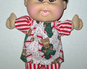 Cabbage Patch, Naptime at Babyland Doll clothes,  Christmas Teddy Bear Candy Cane Pajama, Set 12 13 inch Doll Clothes, Boy or Girl Doll