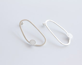 Sterling Silver Abstract Hoops - Organic shaped hoop earrings - Colored Dot White Aquamarine Black Red