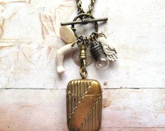 The Mudlark - Antique Vesta Case Assemblage Charm Handmade Necklace
