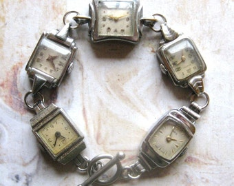 Frozen In Time - Handmade Bracelet With Silver Tone Vintage Art Deco Watches with Gift Box