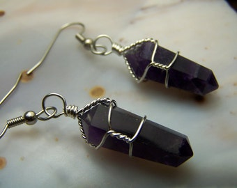Amethyst Crystal earrings - Double Terminated Amethyst Crystal gemstone polished points - silver wire wrap - surgical stainless steel wires