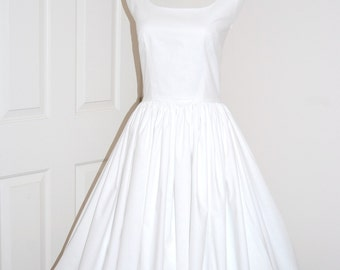 1960s Vintage Style Dress -  Audrey Hepburn Style - Country Wedding Dress - Rustic Wedding Dress - Whtie Cotton Dress - Full Skirt Dress