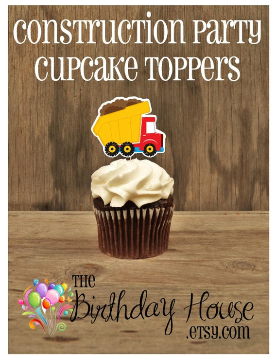 Construction Party - Set of 12 Red Dump Truck Cupcake Toppers by The Birthday House