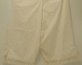 Victorian Pantaloons White Antique Hand Sewn Vintage Costume Large Size