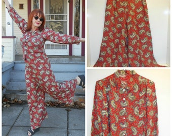 1970s Paisley Pant Suit Silky Wide Leg Pants Vintage High Waisted Pants Wide Leg Pants Paisley Palazzo