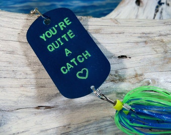 Personalized Romantic Gift for Husband Gift for Boyfriend Hand Stamped Fishing Lure Gift for Valentines Day Mans Birthday Gift for Groom
