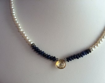 Necklace — Citrine Briolette, Lapis Lazuli and Freshwater Pearls