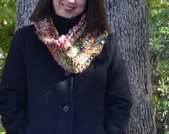 Handspun Infinity Scarf Striped Cowl Scarf Ooak Neckwarmer Ribbed Multicolor Neck Warmer