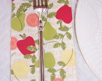 Luncheon Napkins | Set of 4 | Modern Fruit | Cloth Napkins | Kitchen Napkins
