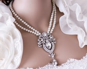 Art Deco Bridal Jewelry Necklace, Multistrand Pearl Necklace, Pearl Rhinestone Necklace, Pearl Necklace, Pearl Wedding Jewelry, Wedding