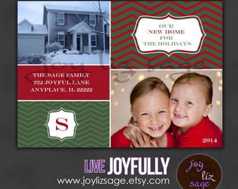 Holiday Moving Announcement - New Address - Holiday Card -Digital file ONLY