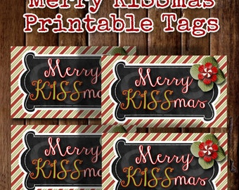 Christmas Gift Tags, Printable Christmas Tags, Merry Kissmas, Teacher Christmas Gift Ideas, Neighbor Christmas Gift, Coworker Christmas Gift