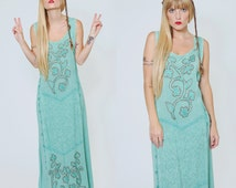 Vintage 90s INDIAN Maxi Dress Sage Ethnic Hippie Dress EMBROIDERED Festival Dress Boho Sun Dress O/S