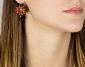 Labradorite and Red Coral Flower Earrings, Flower Jewelry