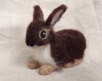 Needle Felted Baby Bunny Rabbit,  Chocolate, Luxury Fibers