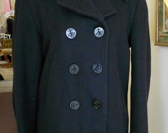 "1950's, 38"" chest,  black heavy wool pea coat"