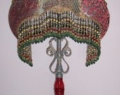 Hold for BD Payment 4 of 6 Antique Embroidered Metallic Parrot 20s Red Lame Lace Red Glass Table Lamp