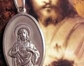 Vintage Catholic Religious Sacred Heart of Jesus Aluminium Medal