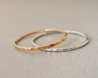 Thin Stacking Rings minimalist design hammered Gold Ring and Silver Ring skinny hammered stackable rings