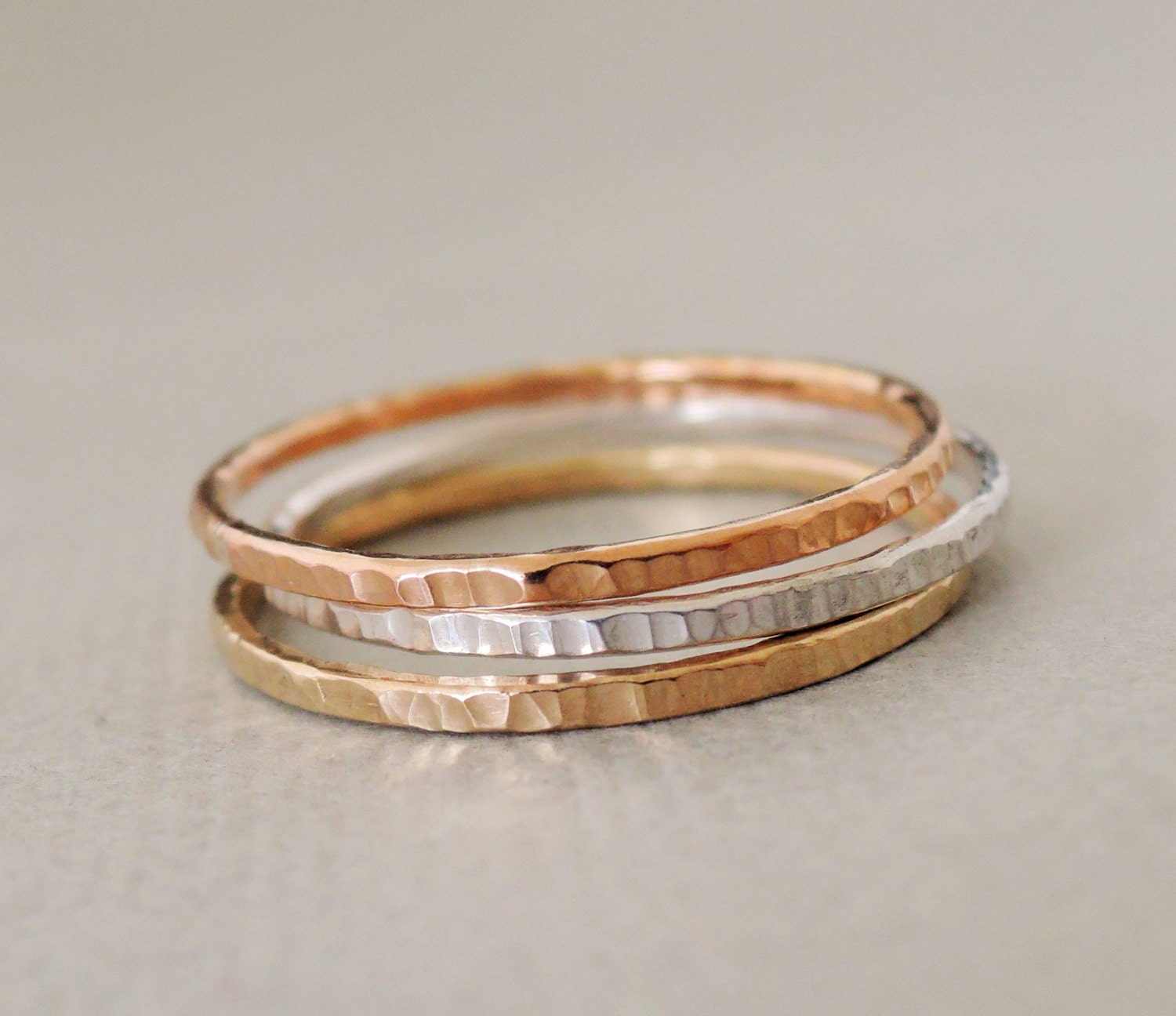 stacking rings rose gold gold silver textured stackable. Black Bedroom Furniture Sets. Home Design Ideas
