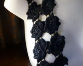 16 Black Roses Lace Appliques for Headbands, Lace Jewelry, Garment or Costume Design L 3024