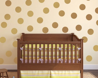 Circle Dots vinyl decals, Gold Polka Dots for nursery or bedroom.  Wall paper alternative wall decal packs