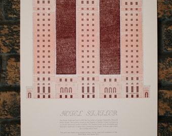 Hotel Statler Letterpress Architecture Print
