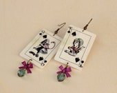 Alice and Mad Hatter dangling Alice in Wonderland playing cards earrings with orchid metal bow and turquoise fire-polished bead