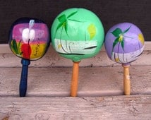 Hand Painted Mexico Maracas Set of 3 Mexican Souvenir Musical Shakers Instruments Ethnic Southwestern Wall Art Decor