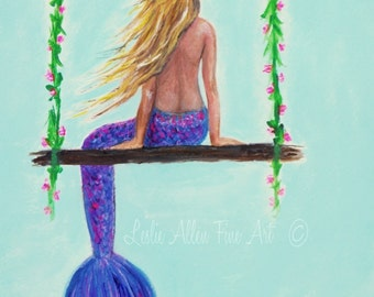 "Mermaid Painting Mermaid Art Mermaids Decor Wall Art  Mermaid Ocean Beach Theme Blonde Ocean ""GLAM SWING"" Leslie Allen Fine Art"