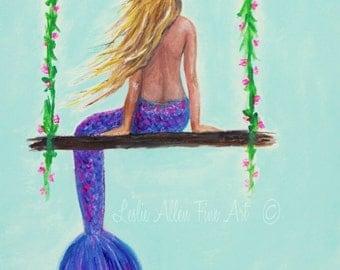 """Mermaid Painting Mermaid Art Mermaids Decor Wall Art  Mermaid Ocean Beach Theme Blonde Ocean """"GLAM SWING"""" Leslie Allen Fine Art"""