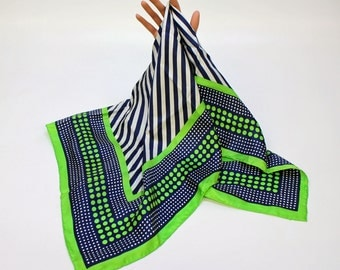 """70's / 80's Echo Silk Scarf / Navy Blue & Green / 30"""" Square"""